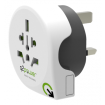 Q2power grounded travel adapter, worldwide to UK, 10A, white/ GT-901
