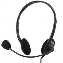 DELTACO headset, volume control on cable, 2m cable, 2x3,5mm, black / HL-2