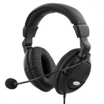 DELTACO headset with microphone, volume control on cable, 2x3.5mm, 2m cable, black / HL-9