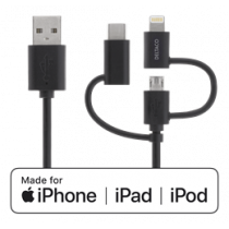 Universal cable DELTACO 0,5m, Micro USB, USB-C, Lightning / IPLH-154