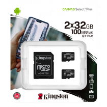 Kingston Canvas Select Plus MicroSDHC, 32GB, Class 10 UHS-I, incl. adapter, 2-pack, black KING-2982