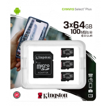 Kingston Canvas Select Plus MicroSDHC, 64GB, Class 10 UHS-I, incl. adapter, 3-pack, black KING-2988