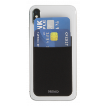 DELTACO Credit card holder for smartphones, 3M glue, black / MCASE-CH001