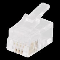 Modular connector RJ9/RJ10/RJ22 4P4C, 20-pack, transparent DELTACO / MD-1A
