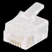 Modular connector RJ12, 6P6C, 20-pack, transparent DELTACO / MD-2A