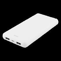 DELTACO 10 000 mAh Power bank, 2x USB-A, 2.1A, LED indicator, white / PB-1071