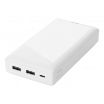 Powerbank DELTACO 20000 mAh, 2.1 A / 10.5 W, 74 Wh, 2x USB-A, white / PB-A1002