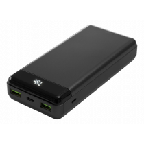 DELTACO Powerbank 20000 mAh, 3 A / 66 W, 74 Wh, 2x USB-A fast charge, 1x USB-C 60 W fast charge, black / PB-C1003
