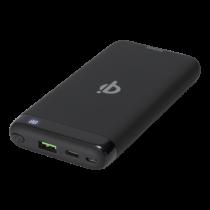 Powerbank DELTACO 10 000 mAh, Qi 10 W, USB-C PD, 37 Wh, black / PB-Q1001