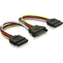 Y power adapter for 15-pin SATA power, for 2 hard drives, 10 cm  DELTACO / SATA-15