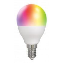 DELTACO SMART HOME LED lamp, E14, WiFI 2.4GHz, 5W, 470lm, dimmable, 2700K-6500K, 220-240V, RGB SH-LE14G45RGB