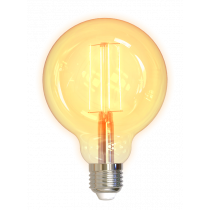 DELTACO SMART HOME LED filament lamp, E27, WiFI 2.4GHz, 5.5W, 470lm, dimmable, 1800K-6500K, 220-240V, white  SH-LFE27G95