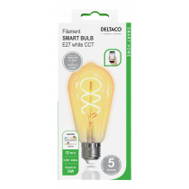 DELTACO SMART HOME Spiral LED filament lamp, E27, WiFI 2.4GHz, 5.5W, 470lm, dimmable, 1800K-6500K, 220-240V, white SH-LFE27ST64S