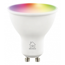DELTACO SMART HOME LED lamp, GU10, WiFI 2.4GHz, 5W, 470lm, dimmable, 2700K-6500K, 220-240V, RGB SH-LGU10RGB