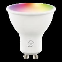 DELTACO SMART HOME LED lamp, GU10, WiFI 2.4GHz, 5W, 470lm, dimmable, 2700K-6500K, 220-240V, RGB SH-LGU10RGB