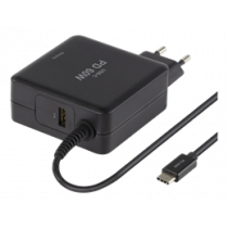 DELTACO 60W USB-C Laptop Charger, 2x USB-A, PD, 3A, Black /SMP-USBC60PD