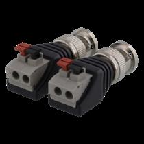 2-pin Terminal block to BNC, 2-Pack, Push button, BNC male DELTACO  black / TBL-1000