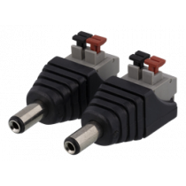 2-pin Terminal block to 5.5 DC, 2-Pack, Push button, 5.5 DC male DELTACO black / TBL-1001