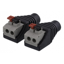 2-pin Terminal block to 5.5 DC, 2-Pack, Push button, 5.5 DC female DELTACO black / TBL-1002