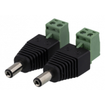 2-pin Terminal block to 5.5 DC, 2-Pack, Screw fix, 5.5 DC male DELTACO black / TBL-1005