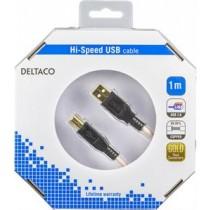 "Cable DELTACO USB 2.0 ""A-B"", 1.0m, white-black / USB-210-K"