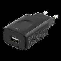 DELTACO wall charger 100-240 V to 5 V USB, 2.4 A, 12 W, 1x USB-A port, white bag, black / USB-AC158