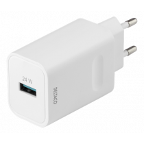 DELTACO USB-A wall charger with fast charging 24W, white USB-AC177