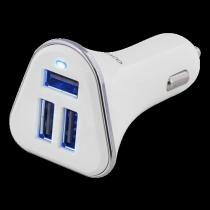 Car charger DELTACO, 5,2A, 3xUSB  white/silver / USB-CAR102