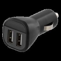 Car Charger DELTACO, 2.4A, 2xUSB, black / USB-CAR119