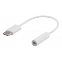 Adapter DELTACO USB-C to 3,5mm, stereo, 10cm, white  / USBC-1142