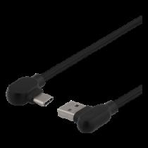 Angled USB-A to angled USB-C cable, 1m, 3A, USB 2.0, braided, black DELTACO / USBC-1180V