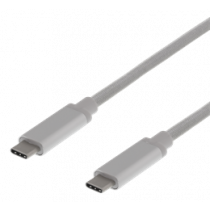 DELTACO cable USB-C to USB-C cable, 1m, 60W USB PD, 10Gbps, silver / USBC-1367M