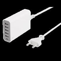 Charging station DELTACO 1xUSB-C, 5xUSB, white / USBC-AC101