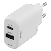 DELTACO wall charger 230V to 5V USB, 3A 15W, 1xUSB-C, 1xUSB-A, white / USBC-AC105