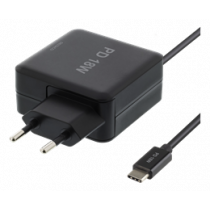 18W USB-C Laptop Charger, PD 2.0, 3A DELTACO black / USBC-AC126