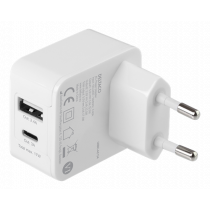 DELTACO Dual USB wall charger 1x USB-A, 1x USB-C, 17 W, white / USBC-AC134