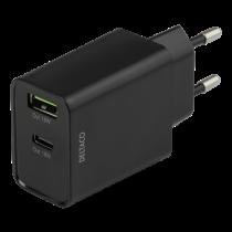 DELTACO Dual USB wall charger with PD, 1x USB-A, 1x USB-C, 18 W, black / USBC-AC135