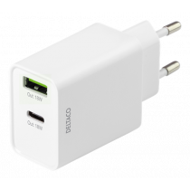 DELTACO Dual USB wall charger with PD, 1x USB-A, 1x USB-C, 18 W, white USBC-AC136