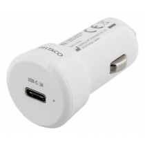 Car charger DELTACO 3A, 1xUSB-C, white / USBC-CAR107