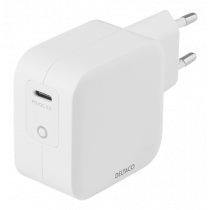 DELTACO USB-C wall charger 61 W with PD and GaN technology, white USBC-GAN02