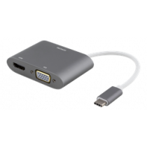 USB-C to HDMI and VGA adapter, 4K UHD, aluminum, DELTACO silver / USBC-HDMI12