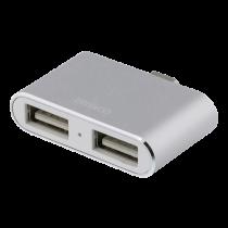 USB-C Hub DELTACO 2xUSB-A, silver / USBC-HUB6