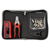 Crimp kit for waterproof F-contacts incl. cable sharpener, crimping tool and 10pcs waterproof F-connectors DELTACOIMP / VK-258