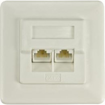 Unscreened wall socket for mounting in device case, 2xRJ45, Krone terminal, UTP, Cat6 DELTACO white / VR-127