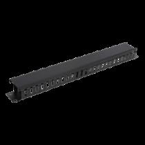 """19 """"cable handler, metal, finger channel and feeder, 1U DELTACO black / 19-23"""