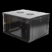 """19"""" cabinet, 6U, 540x450mm, standing or wall mount, glass door DELTACO black / 19-5406B"""