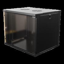 "DELTACO 19 ""cabinet, 9U, 540x450mm, standing or wall mounted, glass door, black  / 19-5409B"