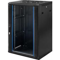 """TOTEN, 19 """"wall cabinet, 18U, 600x450, glass door, black  WM.6418.911 / 19-6418"""