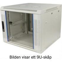 """TOTEN, 19 """"wall cabinet, 12U, 600x600, glass door + rear door, white / 19-6612V"""