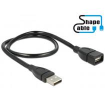 Delock Kabel USB 2.0 Typ-A hane > USB 2.0 Typ-A hona ShapeCable 0,5 m